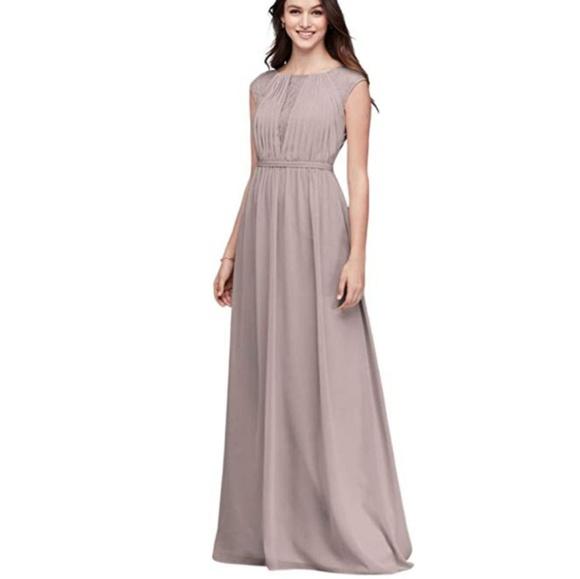 David\'s Bridal Dresses | Chiffon Bridesmaid Dress Chantilly Lace ...